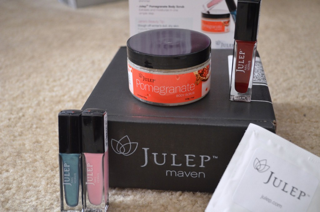 Julep Left-Right:  Megan, Carrie, Pomegranate Body Scrub, Demi & Nail Polish Remover Pad