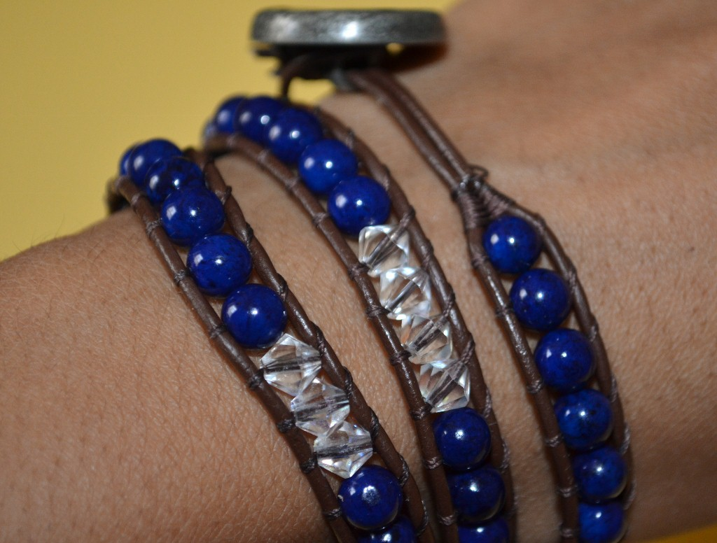Electric Blue - Leather Wrap Bracelet by Eclectic Star