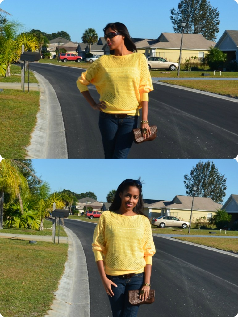 Mina Slater Wearing Mustard Yellow Sweater From Oasap