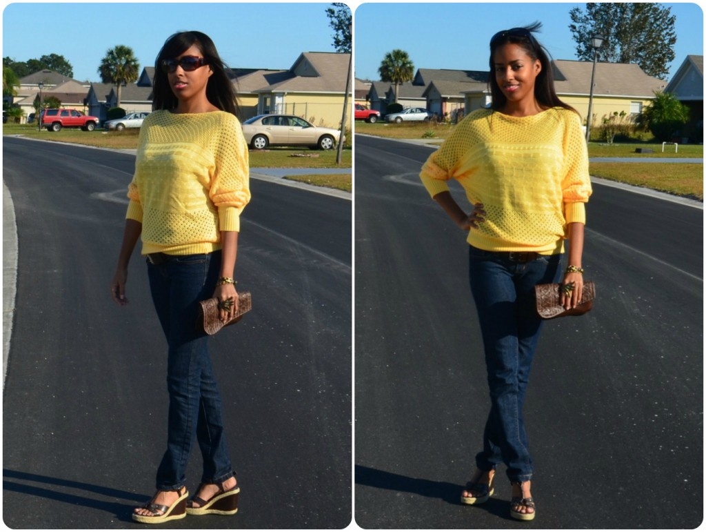 what to wear with yellow sweater