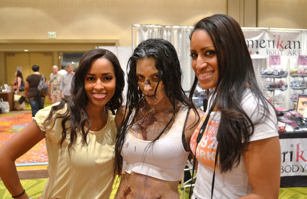Mina Slater With Zombie Model (makeup by Toby Sells of Walking Dead) & Marlene Frierson At The Makeup Show Orlando