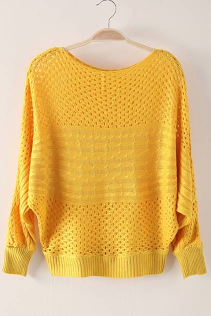 Yellow Plaited Pattern Cut Out Jumper (wool sweater) From Oasap