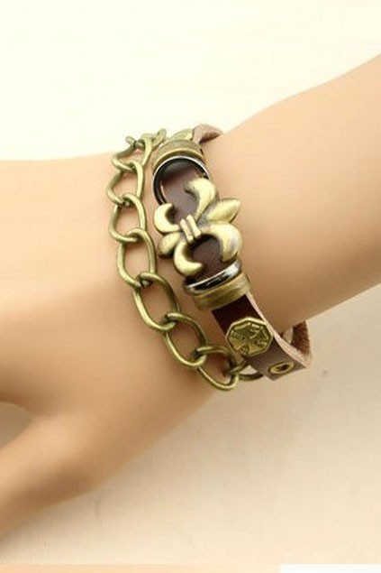 Retro Coppery-tone Metal Detail Leather Bracelet From Oasap