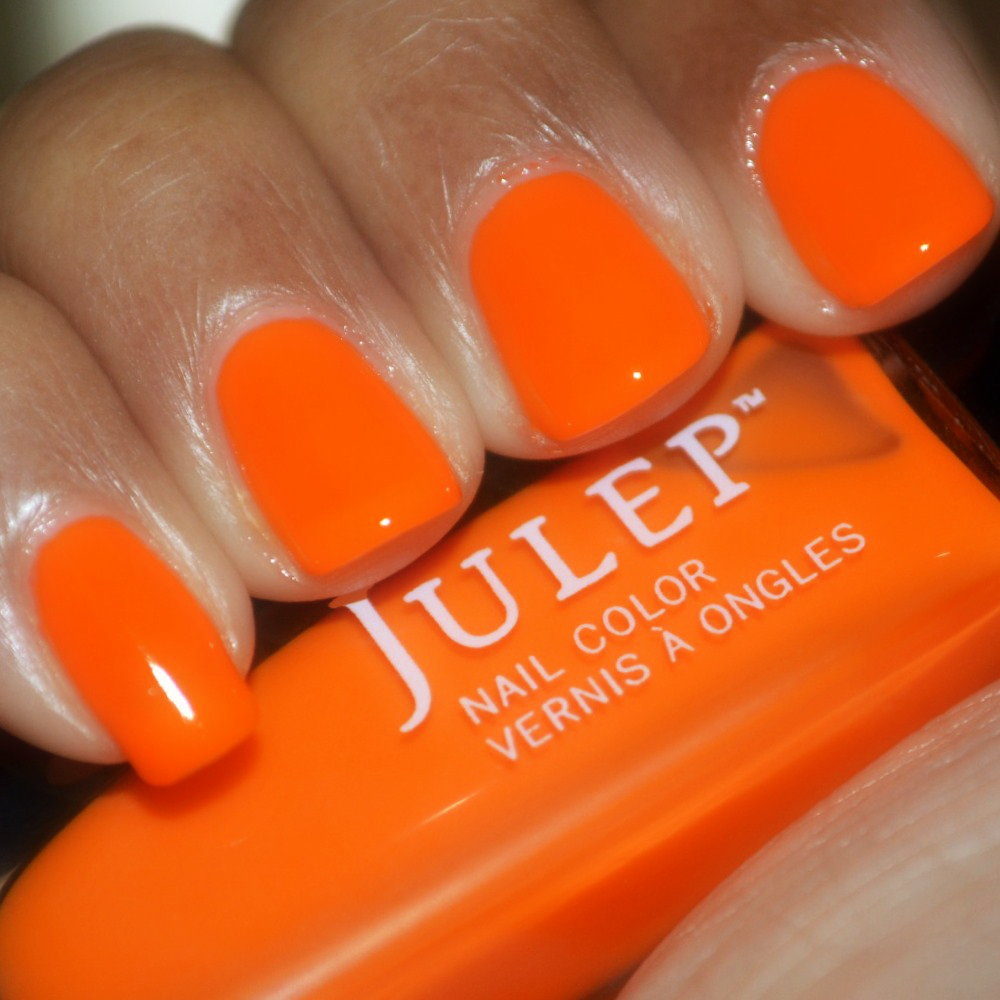 Julep Nail Polish Kaylen Swatch, neon orange creme