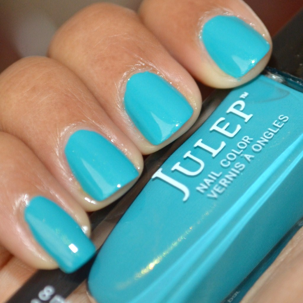 Swatch of Julep Nail Polish Lena, teal with gold shimmer