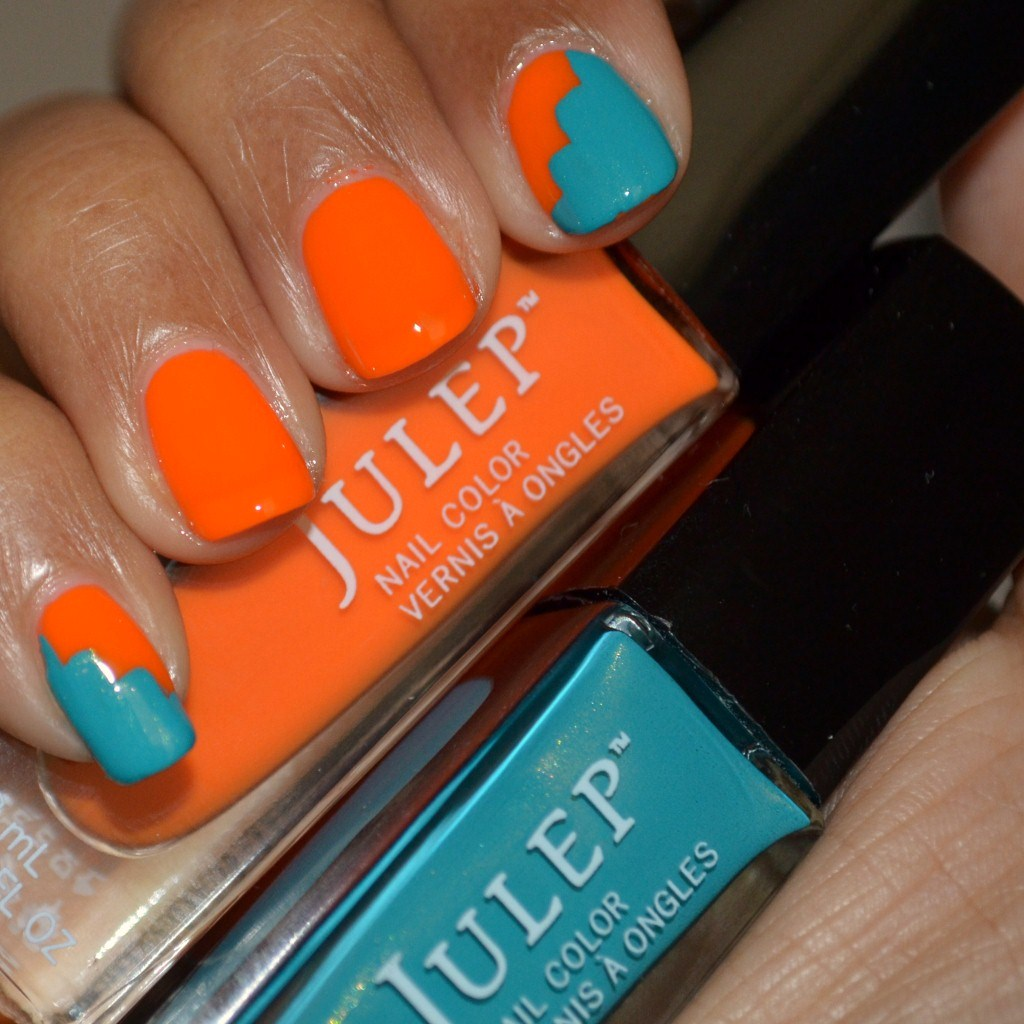 Zigzag nail art with Julep Nail Polish Kaylen & Lena, teal & orange