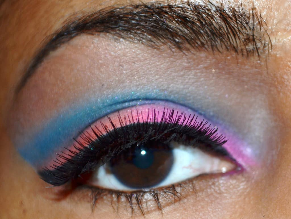 Bright Eyes - orange, pink and blue eyeshadow - Summer Eye Look 2013