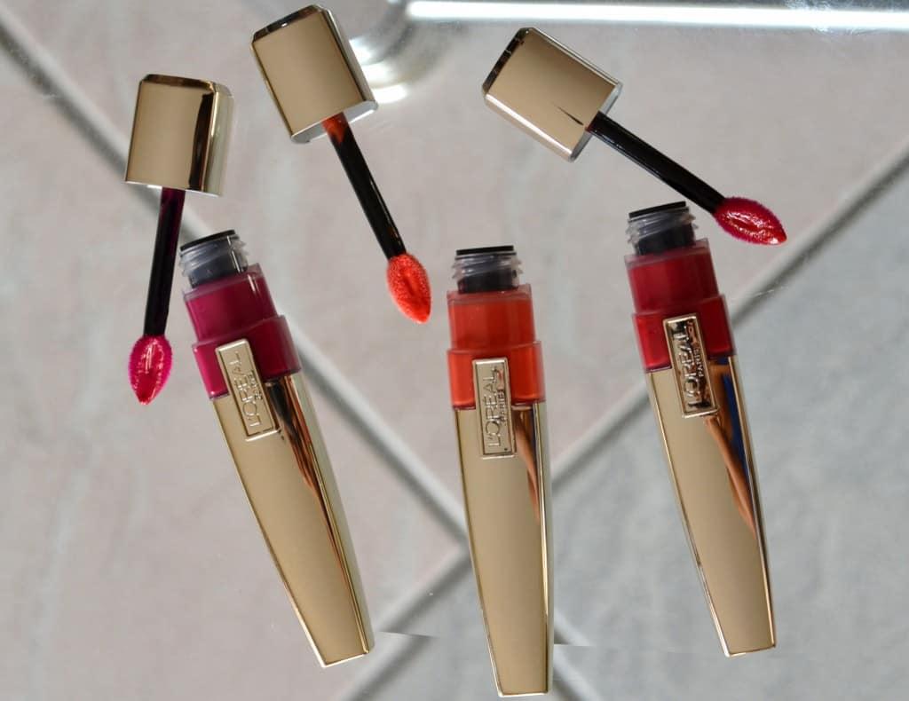 L'Oreal Paris Colour Caresse Wet Shine Stain Gloss - Infinite Fuchsia, Coral Tattoo & Endless Red