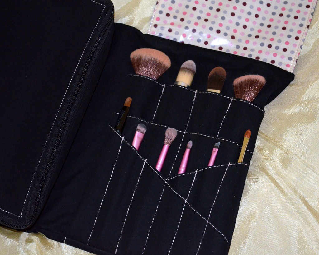 Hold Me Bag brush holder area has spaces for 15 makeup brushes