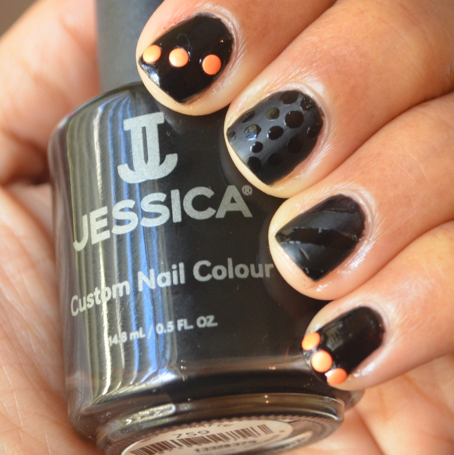 Dots & Stripes Nail Art Attempt