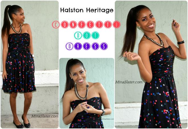 Halston Heritage Confetti Dot Dress from Rent The Runway via Mina Slater