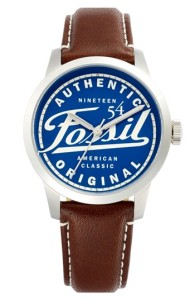 Fossil 'Townsman' Graphic Dial Leather Strap Watch, 40mm (Special Edition)