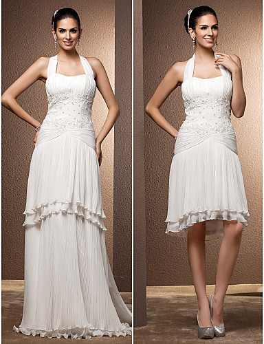 Two-In-One Sheath/Column Halter Floor-length Chiffon Wedding Dress from LightInTheBox.com