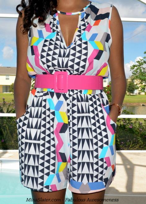 Mina Slater wearing Isla by Talulah - JungleTropical Playsuit #TropicalMidnight