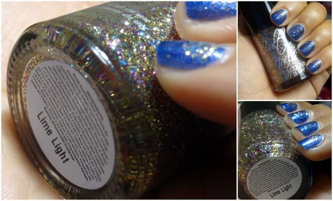 Dazed Lime Light, blue glitter nails