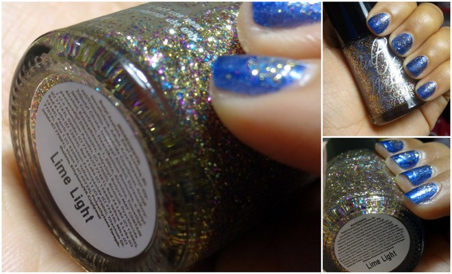 Dazed Lime Light, blue glitter nails