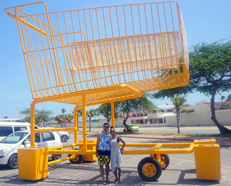 You can't miss this market in Aruba, there's a huge shopping cart in front!
