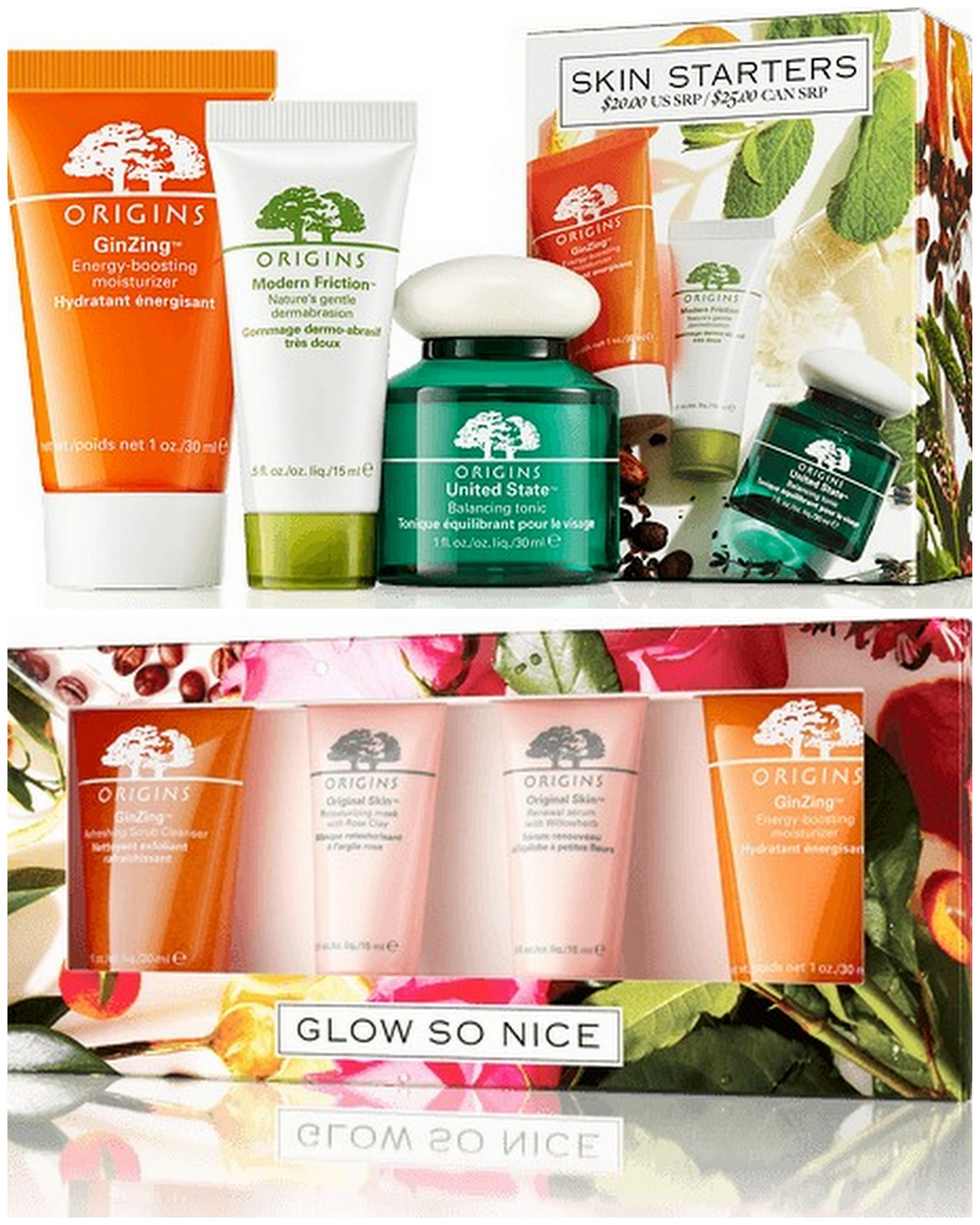 Origins Skin Starters and Glow So Nice Travel Skincare Kits