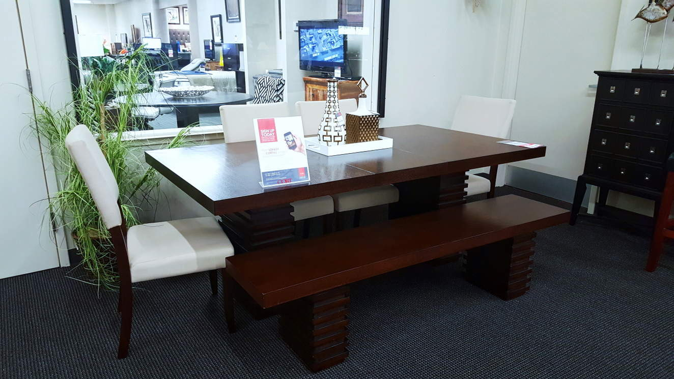 Briana Table, Four Chairs and Bench Seat