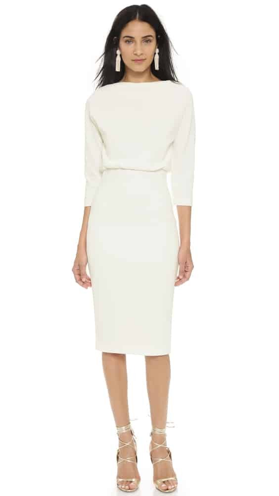 Badgley Mischka Collection Long Sleeve Dress - White