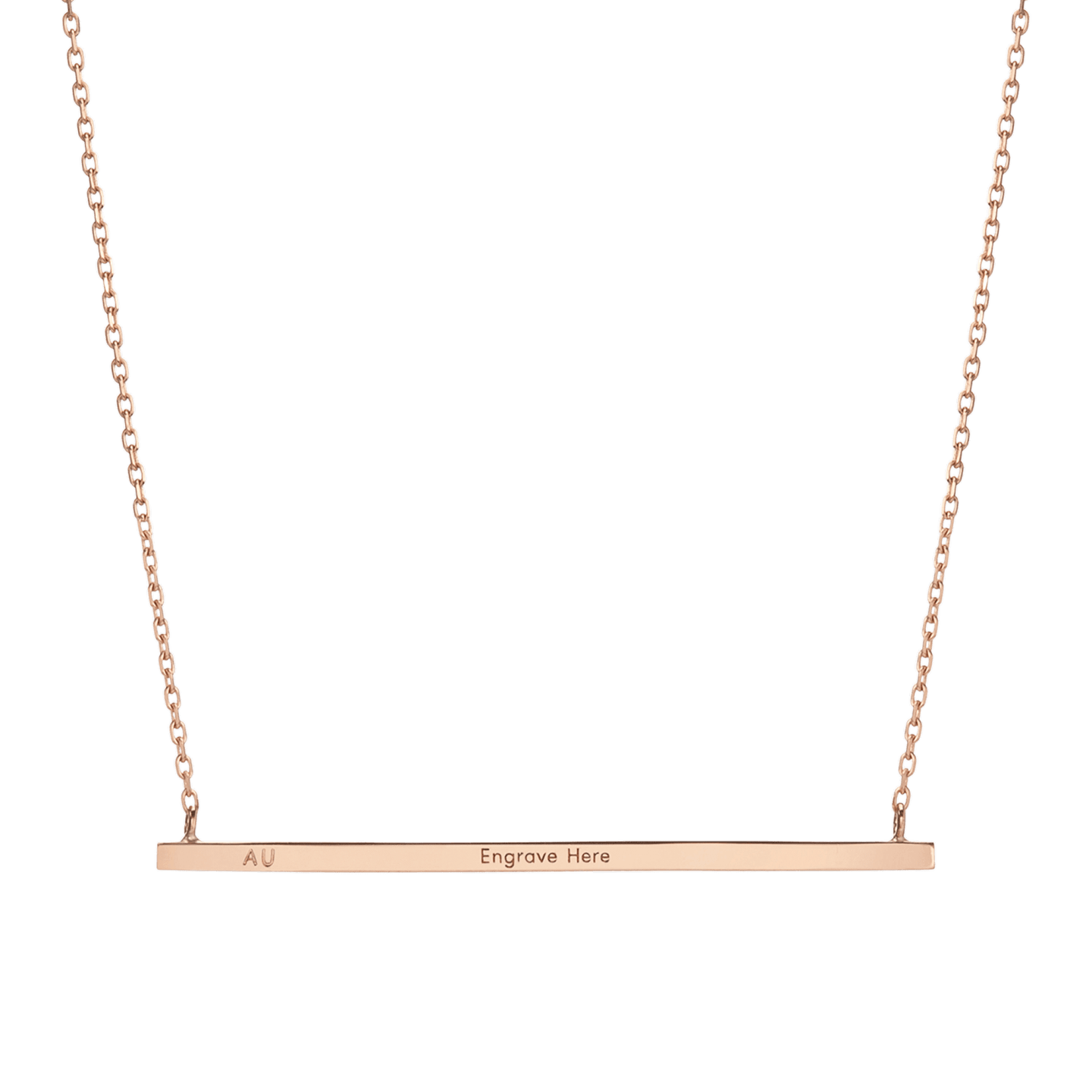 Engraved Fine Jewelry - AUrate Gold Bar Necklace